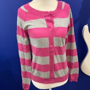 Small pink gray striped cardigan